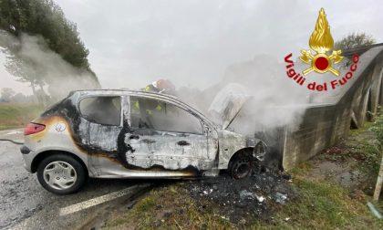 Auto si schianta contro il ponte e prende fuoco: salva 53enne FOTO